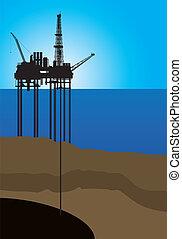 piattaforma, vettore, olio, mare
