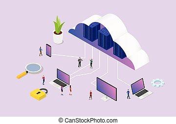 piattaforma, vettore, -, squadra, isometrico, laptop, vario, smartphone, nuvola, calcolare, persone, concetto, computer, 3d, media