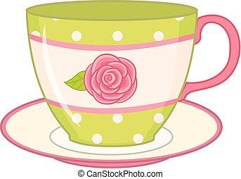 piattino, tazza, vettore, tè