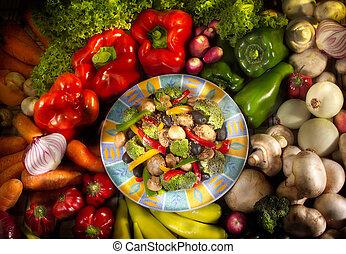 piatto cibo, vegetariano, verdura