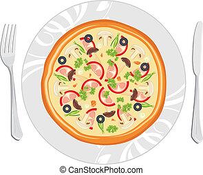 piatto, pietanza, delizioso, pizza
