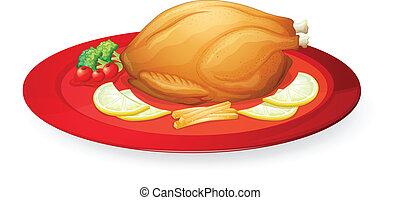 piatto, pietanza, pollo, carne