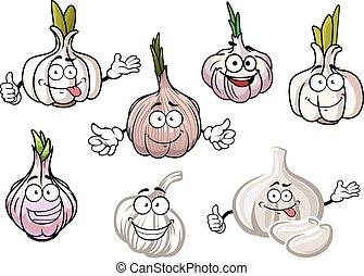 piccante, verdura, aglio, verde, cavoletti di bruxel, cartone animato