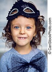 piccola ragazza, 2, ritratto, anni, studio