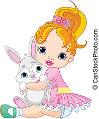 piccola ragazza, abbracciare, giocattolo, coniglietto