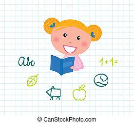 piccola ragazza, carino, book., lettura, vettore, illustration., scuola