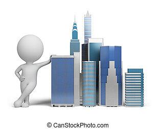 piccolo, 3d, -, grattacieli, persone