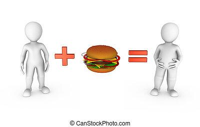piccolo, 3d, hamburger, persone