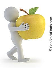 piccolo, 3d, -, mela, persone