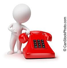 piccolo, 3d, -, telefono, persone