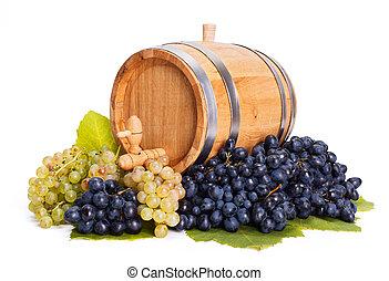 piccolo, barile, uva, mazzo