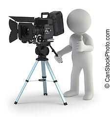 piccolo, cameraman, 3d, -, persone