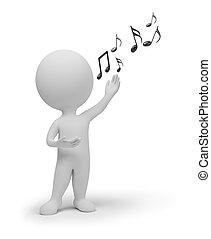 piccolo, cantante, 3d, -, persone
