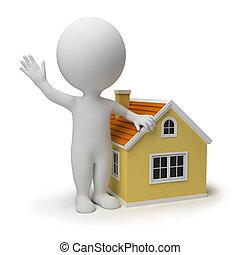 piccolo, casa, 3d, -, persone