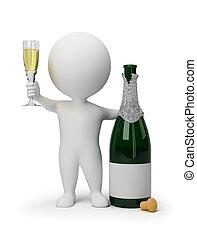 piccolo, champagne, -, 3d, persone