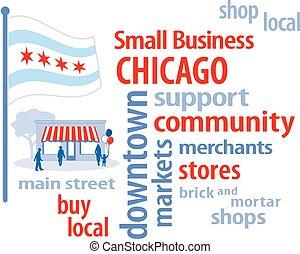 piccolo, chicago, affari, bandiera