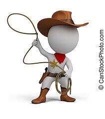 piccolo, cowboy, -, 3d, persone
