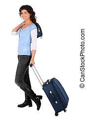 piccolo, donna, tirare, valigia