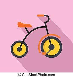 piccolo, icona, stile, triciclo, appartamento