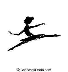 piccolo, lance, ballerino, silhouette, posizione