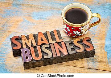 piccolo, legno, tipo, letterpress, affari
