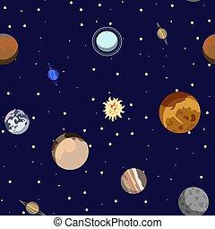 piccolo, mercurio, urano, osservatorio, solare, cartone animato, plutone, astronomico, sistema, nettuno, seamless, modello, pianeta, planets., venere