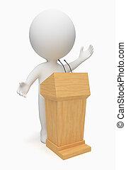 piccolo, oratore, 3d, -, persone