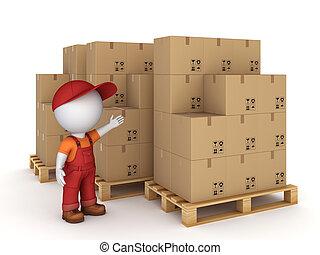 piccolo, persona, cartone, boxes., 3d