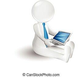 piccolo, persona, laptop, 3d