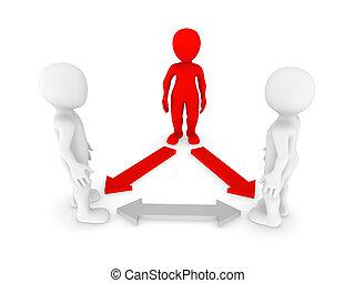 piccolo, persone., direzione, concept., 3d