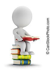 piccolo, persone, libri, 3d, seduta