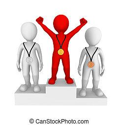 piccolo, persone., rosso, winner., 3d