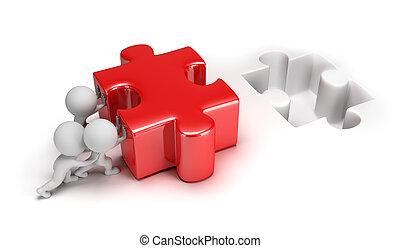 piccolo, puzzle, spinta, 3d, persone