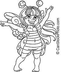 piccolo, ragazza, completo, carnevale, ape