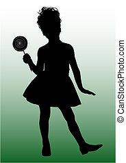 piccolo, ragazza, silhouette, felice