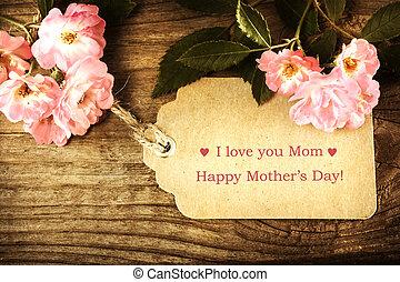 piccolo, rose, giorno, scheda, madri