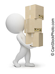 piccolo, scatole, 3d, -, persone