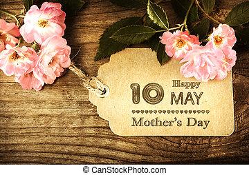 piccolo, scheda, madri, rose, giorno, maggio, 10