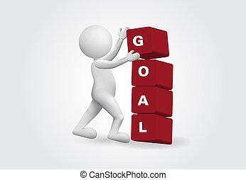 piccolo, scopo, word., persona, successo, 3d, concetto