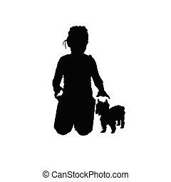 piccolo, silhouette, cane, bambino