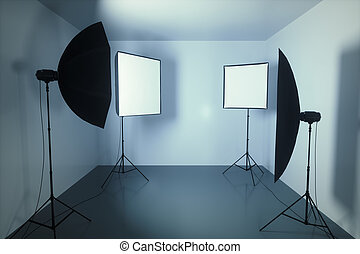 piccolo, studio fotografia, stanza