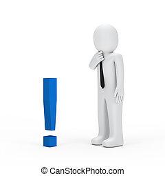 piccolo, uomo affari, esclamazione, blu, marchio