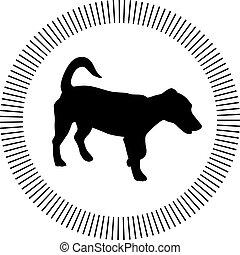 piccolo, vettore, silhouette, cane