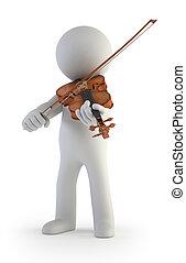 piccolo, violino, 3d, -, persone