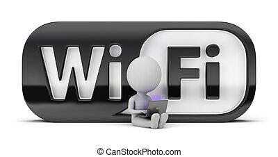 piccolo, wifi, -, 3d, persone