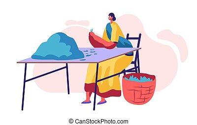 picker, tè, plantation., occupazione, femmina, vestire, agriculture., carattere, indiano, appartamento, donna, lavoratore, illustrazione, lavoro, mettere, cartone animato, smistamento, foglie, tradizionale, vettore, verde, cesto, fresco