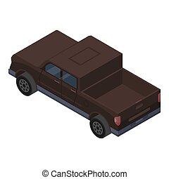 pickup, marrone, isometrico, icona, stile