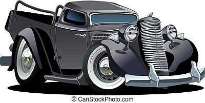 pickup, vettore, retro, cartone animato