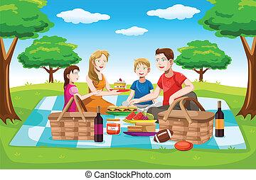 picnic, detenere, famiglia, felice
