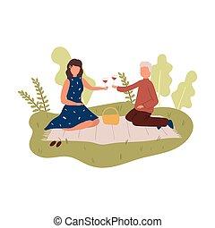 picnic, persone, coppia, natura, coperchio, bello, vino rosso